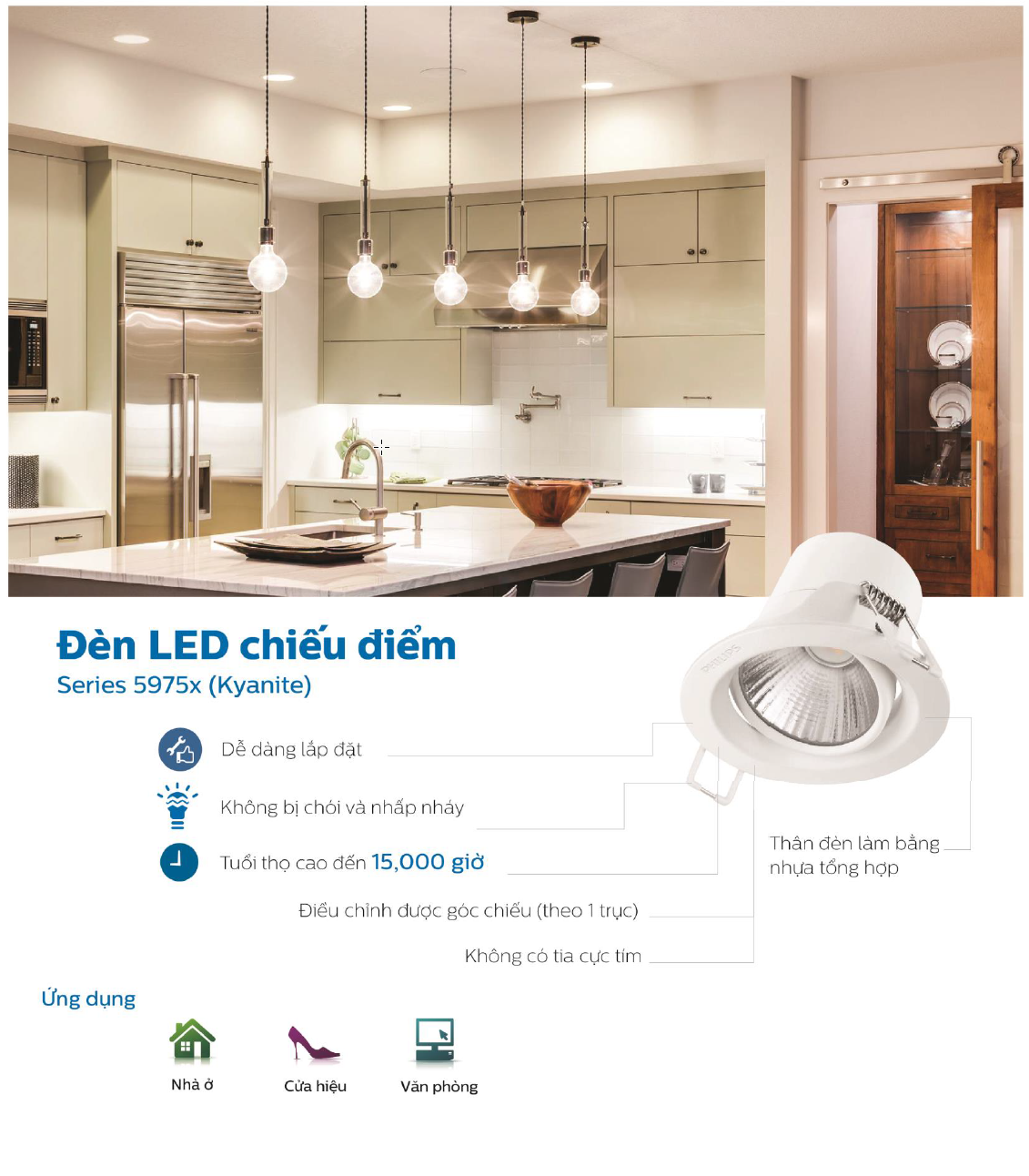 Đèn Downlight Led chiếu điểm Spotlight Philips 59752 Kyanite 5W 2700K