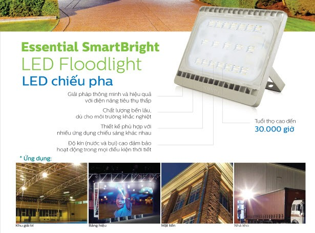 Đèn pha LED Floodlight Philips BVP161 LED55/LED60 70W 220-240V 3000K/4000K/5700K