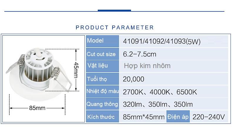 Vật liệu cao cấp, khả năng tản nhiệt tuyệt vời mang đến tuổi thọ bền bỉ lên đến 20.000 giờ  Thông số kỹ thuật đèn Downlight Led Philips âm trần chiếu điểm 41091 5W/2700K