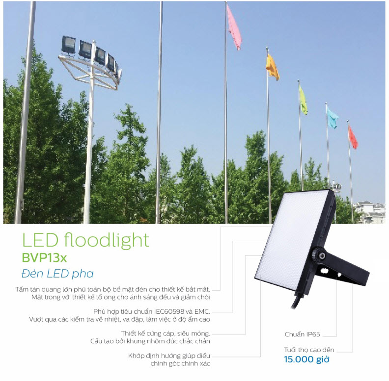 Đèn pha Led Philips Floodlight BVP135 LED40/CW 50W 220-240V WB