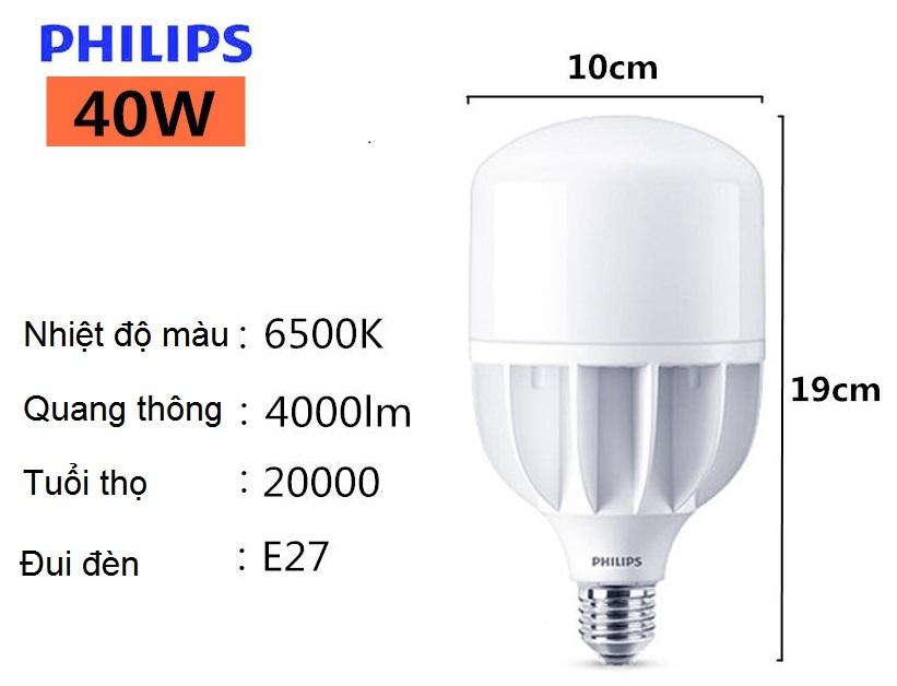 Bóng đèn Led trụ Philips TForce Core HB 40-40W E27 865 ánh sáng trắng