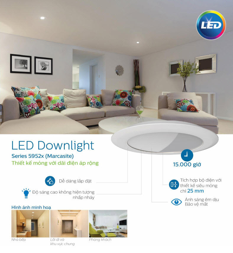 Bộ đèn downlight âm trần LED Philips 80082 6.5W Silver recessed LED  Ø105