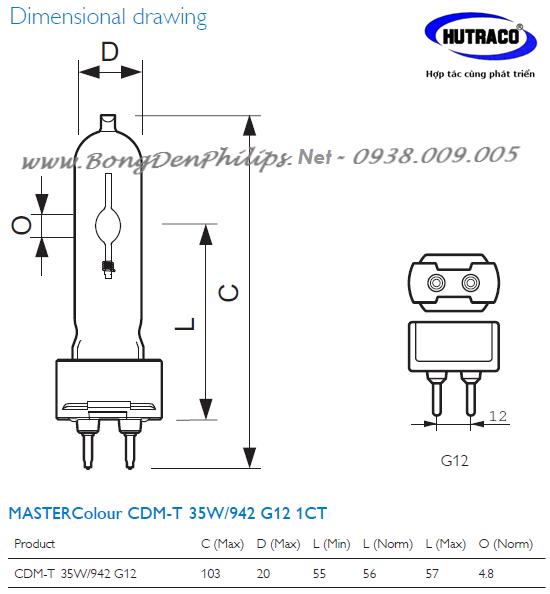 Bóng đèn cao áp Master CDM-R111 Philips 35W 830/942 Gx8.5 24D