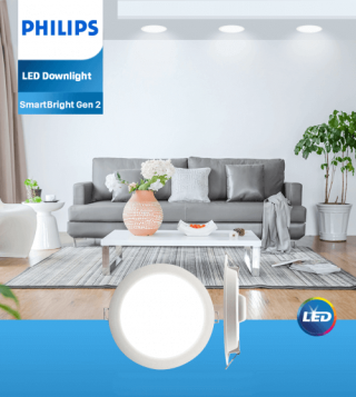 Bộ đèn downlight âm trần LED Philips DN020B G2 LED12/WW 15W 220-240V D150 GM