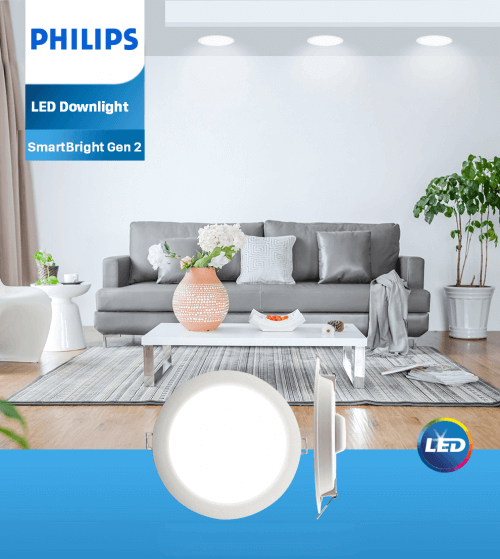Bộ đèn downlight âm trần LED Philips DN020B G2 LED15/WW 19W 220-240V D175 GM