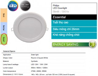 Đèn Downlight âm trần Led Panel Slimlit Philips 12W 59511 Ø120 27K WH recessed